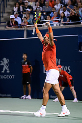 August 10, 2018 - Toronto, ON, U.S. - TORONTO, ON - AUGUST 10: Rafael Nadal (ESP) celebrates after winning his Quarter-Finals match of the Rogers Cup tennis tournament on August 10, 2018, at Aviva Centre in Toronto, ON, Canada. (Photograph by Julian Avram/Icon Sportswire) (Credit Image: © Julian Avram/Icon SMI via ZUMA Press)