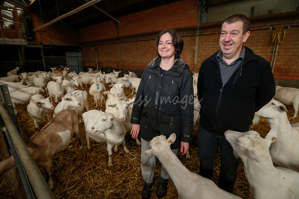 """Veerle Minsaer and Paul D Haene during the DG AGRI Study trip to Belgium """"The CAP and Innovation"""". Visit of the Polle goat  farm in Lichtaart, November 27, 2013.  Photo : Thierry Roge © European Union"""