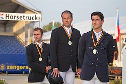 Podium Belgisch Kampioenschap Jumping - Lanaken 2011<br /> 1. Van Roosbroek Maurice (BEL) Dylano<br /> 2. Philippaerts Nicola (BEL) - Carlos V.H.P.Z<br /> 3. Motmans Jan (BEL) - Desteny van het Dennehof<br /> © Dirk Caremans