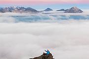 Geophysicist Grzegorz Karasinski and Lukasz Flieger take time off from work at the Polish Polar Station to climb Ariekammen for sunset views over Hornsund, Svalbard.