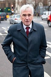 © Licensed to London News Pictures. 16/01/2019. London, UK. Shadow Chancellor of the Exchequer John McDonnell walks through Westminster. Last night, Labour party leader Jeremy Corbyn tabled a motion of no confidence in the government, following the worst government defeat on record of 230 votes on her EU withdrawal deal. Photo credit : Tom Nicholson/LNP