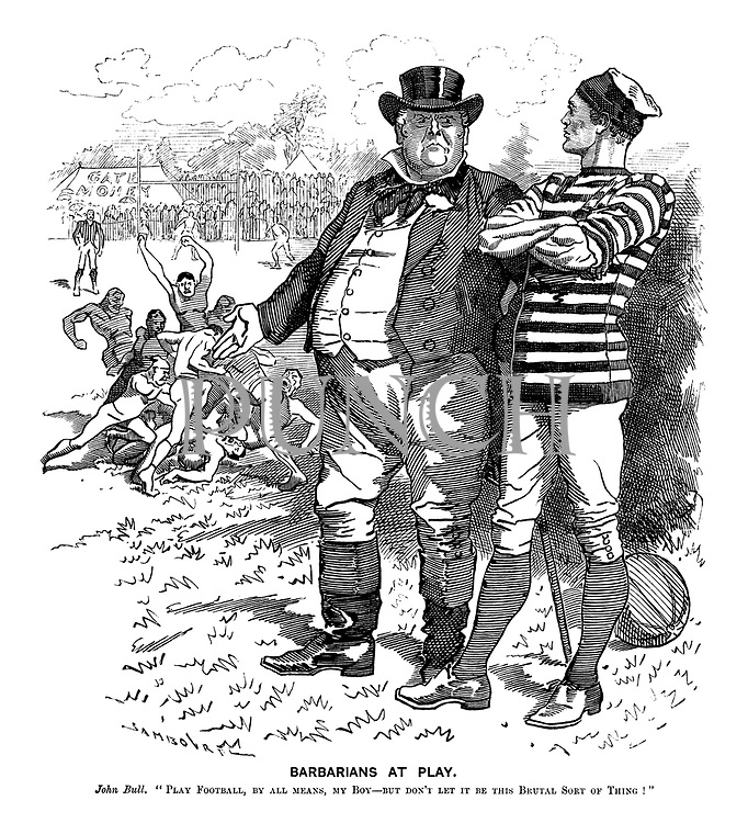 """Barbarians at Play. John Bull. """"Play football, by all means, my boy - but don't let it be this brutal sort of thing!"""""""
