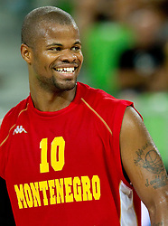Omar Cook of Montenegro during friendly basketball match between National teams of Slovenia and Montenegro of Adecco Ex-Yu Cup 2011 as part of exhibition games before European Championship Lithuania 2011, on August 7, 2011, in Arena Stozice, Ljubljana, Slovenia. Slovenia defeated Crna Gora 86-79. (Photo by Vid Ponikvar / Sportida)