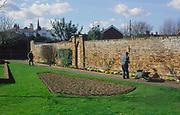 ADFTJF Municipal gardener in town park working at flower beds and borders Elmhurst Park Woodbridge Suffolk England