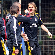 Galatasaray's players Caner ERKIN (R) during their training session at the Jupp Derwall training center, Tuesday, April 20, 2010. Photo by TURKPIX