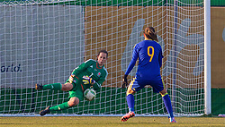 ZENICA, BOSNIA AND HERZEGOVINA - Tuesday, November 28, 2017: Wales' goalkeeper Laura O'Sullivan saves a penalty from Bosnia and Herzegovina's Milena Nikolić during the FIFA Women's World Cup 2019 Qualifying Round Group 1 match between Bosnia and Herzegovina and Wales at the FF BH Football Training Centre. (Pic by David Rawcliffe/Propaganda)