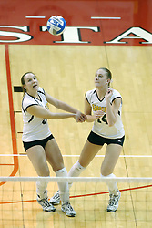 24 November 2006: Angela Jakubov backs off for Melissa Granville during a Semi-final match between the Missouri State Bears and the Wichita State Shockers. The Tournament was held at Redbird Arena on the campus of Illinois State University in Normal Illinois.<br />