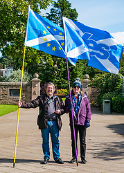 Pictured: All Under One Banner Independence March, Perth,  Scotland, United Kingdom, 07 September 2019. Independence supporters march through Perth in the latest All Under One Banner (AUOB) march of this year. Derek and Arlene from Dundee, who have been marching for independence since 2015. Sally Anderson | EdinburghElitemedia.co.uk