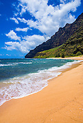 Miloli'i Beach on the remote Na Pali Coast, Island of Kauai, Hawaii