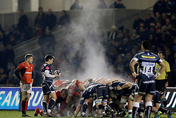Steam rises off the scrum during the European Champions Cup, pool three mach at the AJ Bell Stadium, Salford.