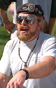 Drummer age 32 at Como Park's Traditional Pow-wow.  St Paul Minnesota USA