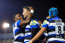Matt Banahan of Bath Rugby is congratulated on his try with team-mate Semesa Rokoduguni - Mandatory byline: Patrick Khachfe/JMP - 07966 386802 - 07/10/2016 - RUGBY UNION - The Recreation Ground - Bath, England - Bath Rugby v Sale Sharks - Aviva Premiership.