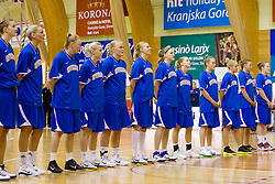 Team of Sweden during  Eurobasket Women - Div. B 2013 Qualifications Game between National team of Slovenia and Sweden in 4th Round of Group A, on June 5, 2011 in  Arena Vitranc, Kranjska Gora, Slovenia. Slovenia defeated Sweden 70-63. (Photo By Vid Ponikvar / Sportida.com)