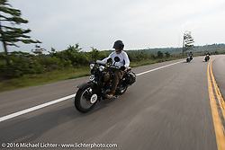 David Cava riding his 1921 Harley-Davidson during Stage 6 of the Motorcycle Cannonball Cross-Country Endurance Run, which on this day ran from Cape Girardeau to Sedalia, MO., USA. Wednesday, September 10, 2014.  Photography ©2014 Michael Lichter.
