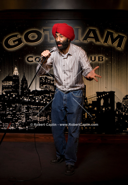 Comedian Narinder Singh poses for a portrait at Gotham Comedy Club in New York, Aug. 21, 2008.