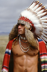 sexy shirtless American Indian outdoors
