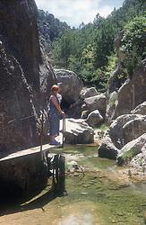 Scenic path and stream at El Parrissal; near Valderobbres; Maestrazgo; Teruel,