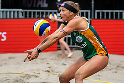 / in action during the third day of the beach volleyball event King of the Court at Jaarbeursplein on September 11, 2020 in Utrecht.
