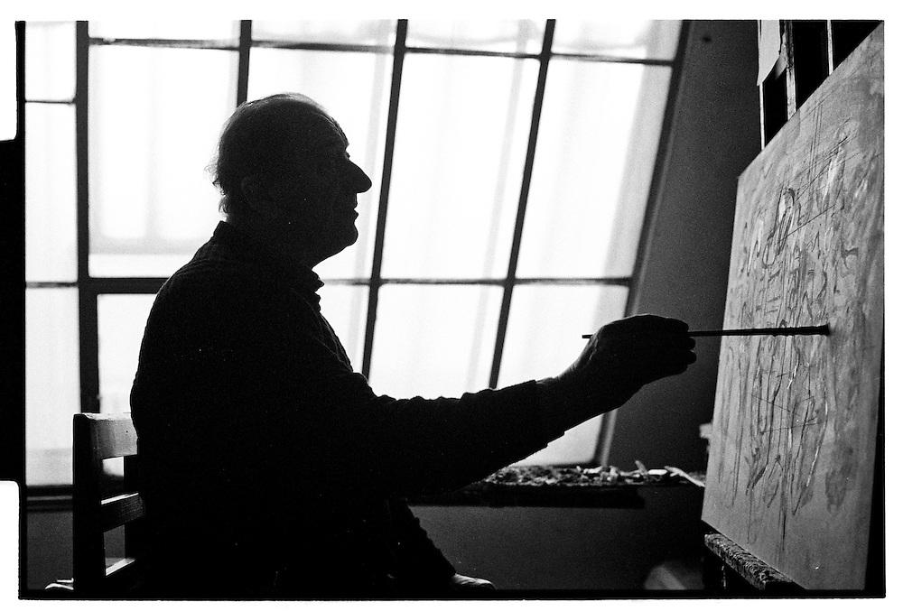 Czech painter Oldrich Smutny in his studio in Prague.