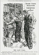 Different loyalties:  Trade unionist telling fellow munitions worker he is being disloyalty to the Union by working so hard.   His workmate says he'd soon be a traitor to the union than to his country.  Bernard Partridge cartoon from 'Punch', London, 22 September 1915.