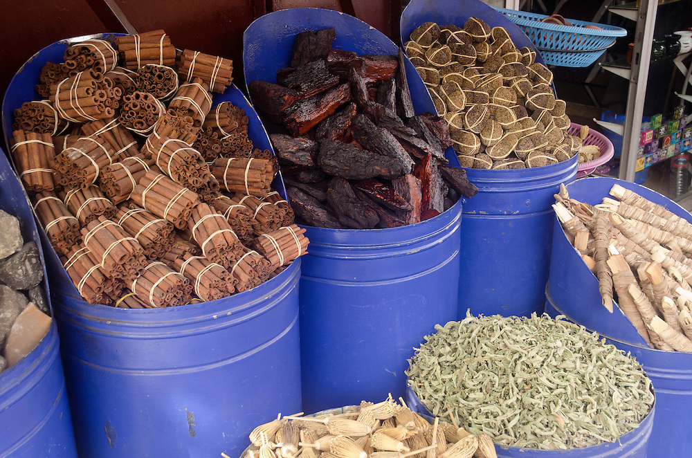 A selection of herbs and spices in Marrakech medina, Morocco