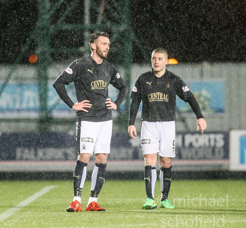 Falkirk's Lee Millar and John Baird. <br /> Falkirk 1 v 0 Dumbarton, Scottish Championship game played 26/12/2015 at The Falkirk Stadium.