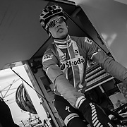 Zdenek Stybar heads out for a pre-race course inspection.