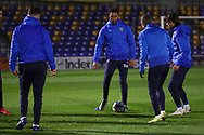 AFC Wimbledon defender Terell Thomas (6) warming up prior to kick off during the EFL Sky Bet League 1 match between AFC Wimbledon and Peterborough United at Plough Lane, London, United Kingdom on 2 December 2020.