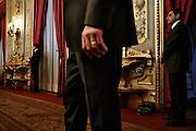 Uomini della sicurezza al Quirinale durante la cerimonia per la giornata mondiale dell'Autismo, Roma 12 Aprile 2015.  Christian Mantuano / OneShot <br /> <br /> Security man at the presidential palace during the ceremony for the World Day of Autism, Rome April 2, 2015. Christian Mantuano / OneShot