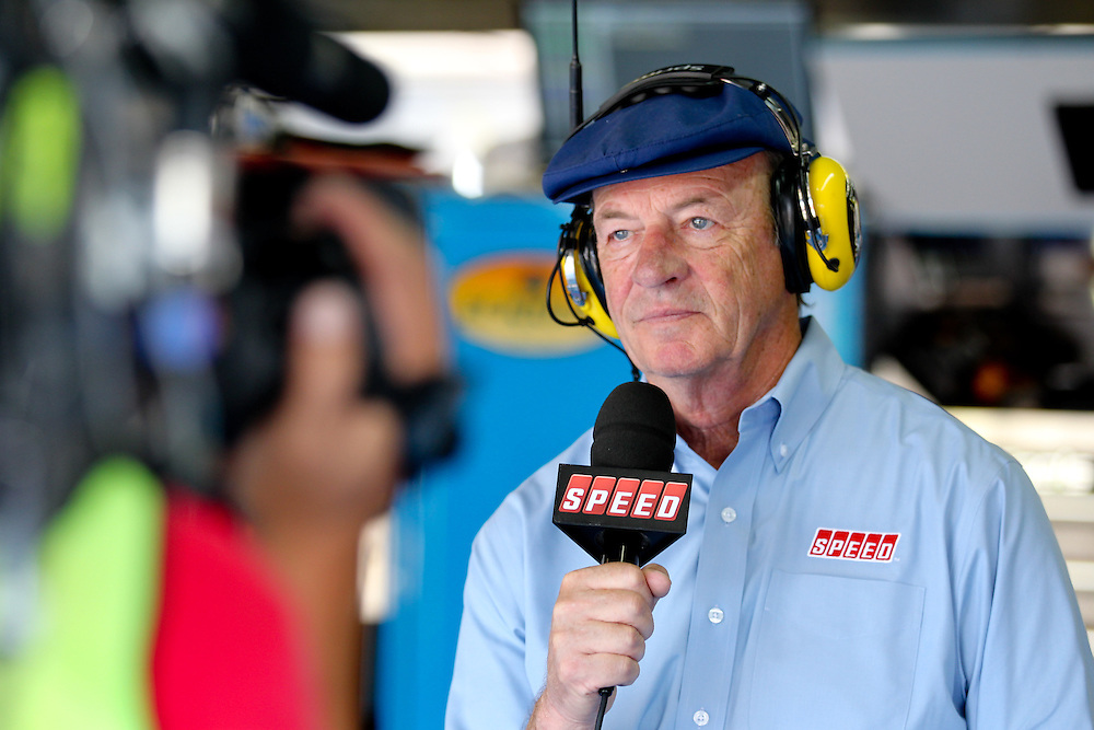 May 24, 2012; Concord, NC USA; Speed TV announcer Dick Berggren during  for the Coca-Cola 600 at Charlotte Motor Speedway. Photo by Kevin Liles/kevindliles.com