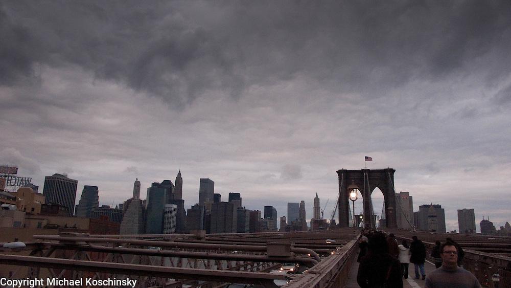 Thunderstorm over Brooklyn Bridge