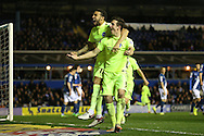 Brighton central defender, Lewis Dunk (5) scores to make it 2-1 and celebrates during the Sky Bet Championship match between Birmingham City and Brighton and Hove Albion at St Andrews, Birmingham, England on 5 April 2016.