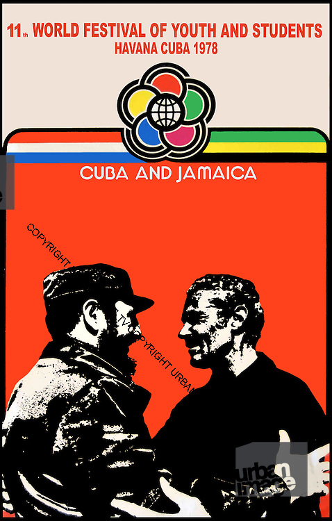 Jamaica/Cuba Youth Festival Poster - Manley meets Castro