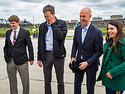 20 MAY 2019 - DAVENPORT, IOWA: BETO O'ROURKE, center, PAUL RUMLER, CEO of Quad Cities Chamber of Commerce and KYLE CARTER, also from the Chamber of Commerce, look at flood damage in Davenport. O'Rourke, running to be the 2020 Democratic nominee for the US Presidency, has made climate change a central part of his campaign. He toured flood damage in Davenport Monday. The Mississippi River flooded through downtown Davenport on April 30 and much of downtown is still recovering from the flood.     PHOTO BY JACK KURTZ