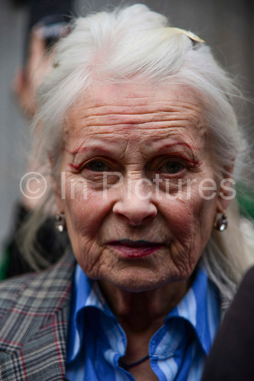 Fashion designer and activist Dame Vivienne Westwood attends Extinction Rebellions Carn-evil of Chaos Fashion Parade at the Brazilian Embassy on 1st May 2019 in London, England,UK. Climate change activist group Extinction Rebellion accuse the Brazilian government of wrecking biodiversity of the Amazon rainforest  for financial gain and to halt the contruction of a motorway through the forest.