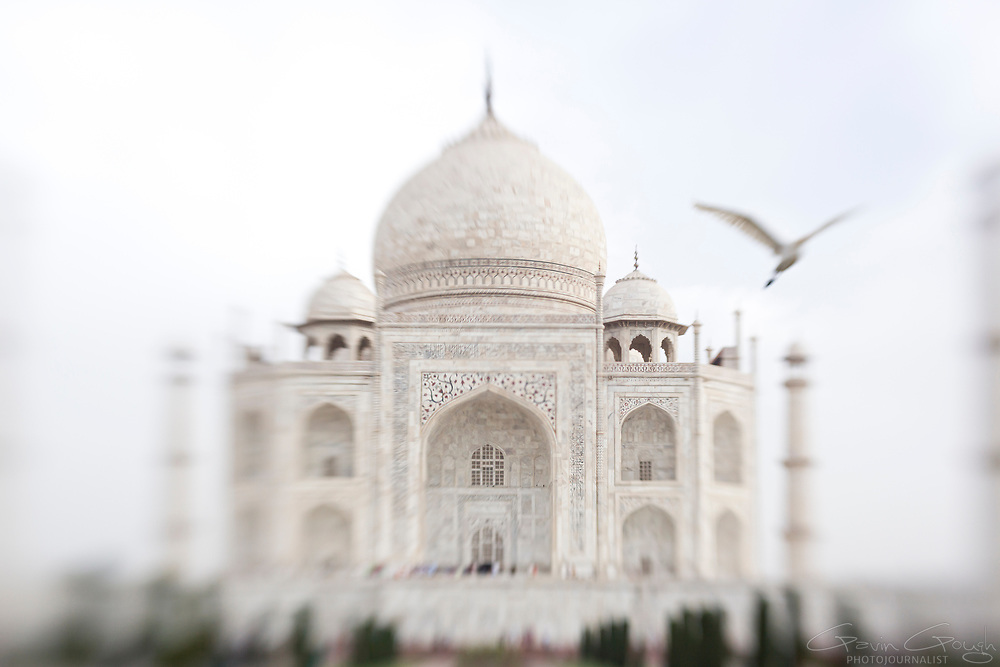 A dreamy view of the iconic ivory-white marble towers and dome, Taj Mahal, Agra, India