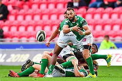 Dewaldt Duvenage of Benetton Treviso in action during todays match<br /> <br /> Photographer Craig Thomas/Replay Images<br /> <br /> Guinness PRO14 Round 3 - Scarlets v Benetton Treviso - Saturday 15th September 2018 - Parc Y Scarlets - Llanelli<br /> <br /> World Copyright © Replay Images . All rights reserved. info@replayimages.co.uk - http://replayimages.co.uk