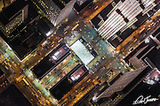 Aerial view of Rockefeller Center at night, photographed from a helicopter.