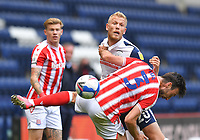 Preston North End's Jayden Stockley battles with Stoke City's Morgan Fox<br /> <br /> Photographer Dave Howarth/CameraSport<br /> <br /> The EFL Sky Bet Championship - Preston North End v Stoke City - Saturday 26th September 2020 - Deepdale - Preston <br /> <br /> World Copyright © 2020 CameraSport. All rights reserved. 43 Linden Ave. Countesthorpe. Leicester. England. LE8 5PG - Tel: +44 (0) 116 277 4147 - admin@camerasport.com - www.camerasport.com