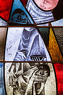 """Stained glass from artwork titled """"The Holy Christian Church"""" at Zion Lutheran Church, Belleville, Ill., on Wednesday, Feb. 10, 2021. LCMS Communications/Erik M. Lunsford"""