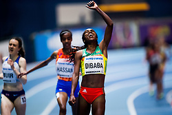 March 1, 2018 - Birmingham, GREAT BRITAIN - 180301 Genzebe Dibaba of Ethiopia celebrates winning the womenÂ«s 3000 m during day one of the IAAF World Indoor Championships on March 1, 2018 in Birmingham..Photo: Jon Olav Nesvold / BILDBYRN / kod JE / 160205 (Credit Image: © Jon Olav Nesvold/Bildbyran via ZUMA Press)