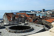 Elevated view of ruined once-domed roof of Vestibule, Diocletian Palace, Split, Croatia