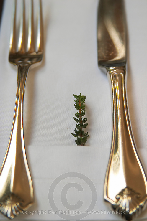 Stylish knife and fork placed on a folded linen napkin and a small branch of thyme as decoration. The O'Farrell Restaurant, Acassuso, Buenos Aires Argentina, South America