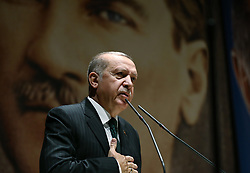 April 27, 2018 - Ankara, Turkey - Turkey's President RECEP TAYYIP ERDOGAN addresses his ruling party members in Ankara. (Credit Image: © Turkish Presidency/Depo Photos via ZUMA Wire)