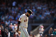 San Francisco Giants relief pitcher Sergio Romo (54) walks off the field after pitching in the eighth inning against the Arizona Diamondbacks at AT&T Park in San Francisco, Calif., on August 31, 2016. (Stan Olszewski/Special to S.F. Examiner)