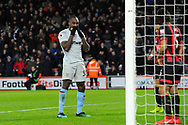 Michail Antonio (30) of West Ham United looks dejected after missing a shot at goal during the Premier League match between Bournemouth and West Ham United at the Vitality Stadium, Bournemouth, England on 19 January 2019.
