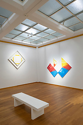 Paintings by Piet Mondriaan (l) and Rob van Koningsbruggen at the Gemeentemuseum in The Hague, Den Haag, The Netherlands