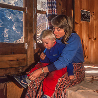 Meredith Wiltsie & 3-year old son Ben stay at a lodge in Namche Bazar while trekking in the Khumbu Region of Nepal.