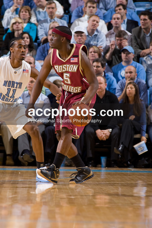 31 January 2008: Boston College Eagles guard Biko Paris (5) during a 69-91loss to the North Carolina Tar Heels at the Dean Smith Center in Chapel Hill, NC.
