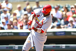 May 16, 2018 - Minneapolis, MN, U.S. - MINNEAPOLIS, MN - MAY 16: St. Louis Cardinals right fielder Dexter Fowler (25) hits a 2 run RBI single in the top of the 1st inning during the regular season game between the St. Louis Cardinals and the Minnesota Twins on May 16, 2018 at Target Field in Minneapolis, Minnesota. (Photo by David Berding/Icon Sportswire) (Credit Image: © David Berding/Icon SMI via ZUMA Press)